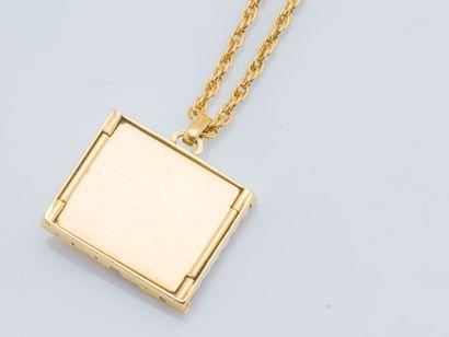 Chaîne et pendentif en or jaune 18 carats (750 ‰) à maille corde, retenant un pendentif...