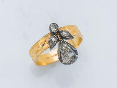 Bague aigrette en or jaune 18 carats (750...