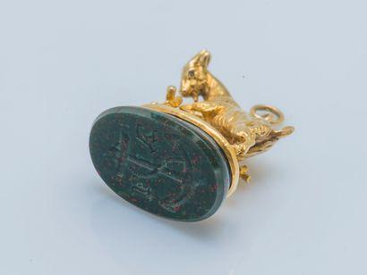 Cachet-pendentif Cachet-pendentif en or jaune 18 carats (750 ‰) figurant une chèvre...