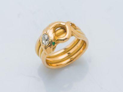 Bague serpent en or jaune 18 carats (750...