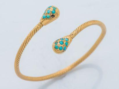 Bracelet jonc ouvert en or jaune 18 carats...