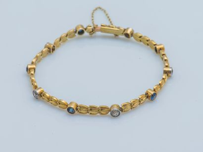Bracelet en or jaune 18 carats (750 ‰) et...