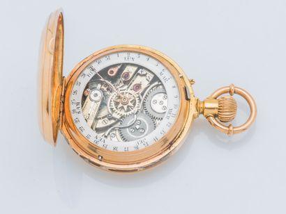 Montre savonnette en or jaune 18 carats (750 ‰) à double cadran, d'un coté les heures...