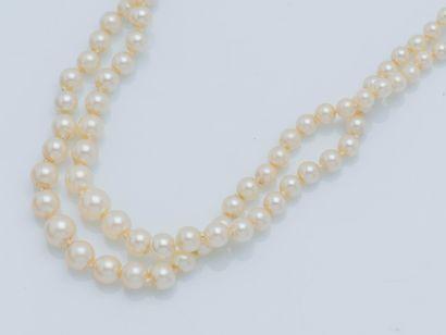 Collier de deux rangs de perles de culture...