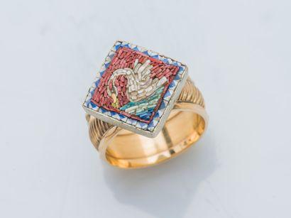 Bague en or jaune 18 carats (750 ‰) et métal...