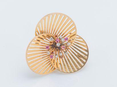 Broche trèfle en or jaune 18 carats (750...