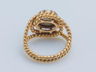 Bague Bague en or jaune 18 carats (750 ‰) et argent (850 ‰) formant un double jonc...