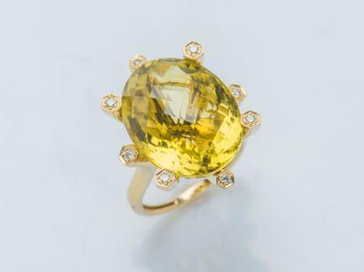 Bague en or jaune 18 carats (750 ‰) sertie...