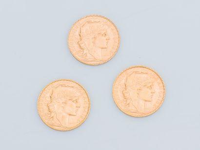 Lot de trois pièces de 20 Francs or Coq de...