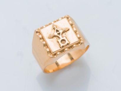 Chevalière en or jaune 18 carats (750 ‰)...