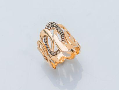 Bague bandeau en or rose 18 carats (750 ‰)...