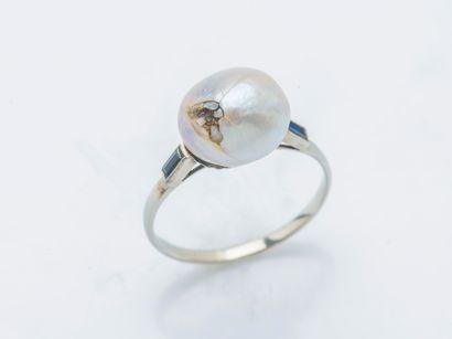 Bague en or gris 18 carats (750 ‰) sertie...