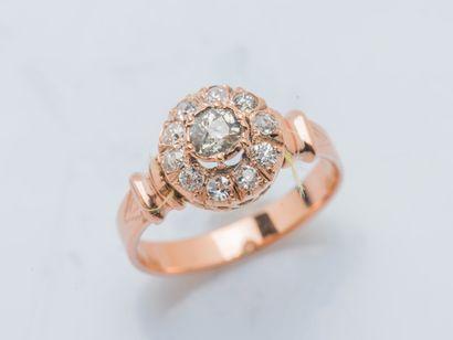 Bague en or rose 18 carats (750 ‰) ornée...