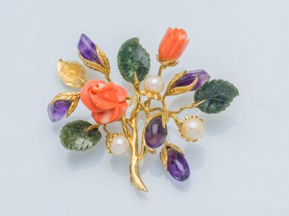 Broche bouquet en or jaune 18 carats (750...