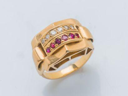 Bague à pont en or rose 18 carats (750 millième)...