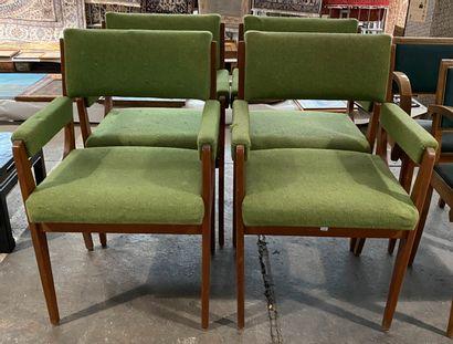 Suite de quatre fauteuils en bois vernis,...