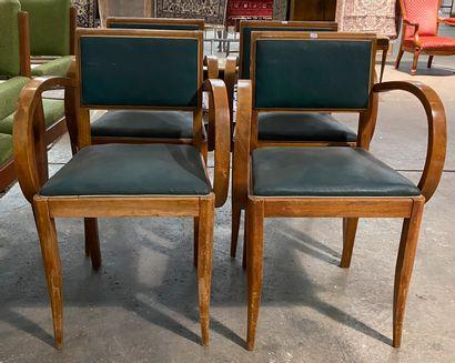 Suite de quatre fauteuils de bridge en bois...