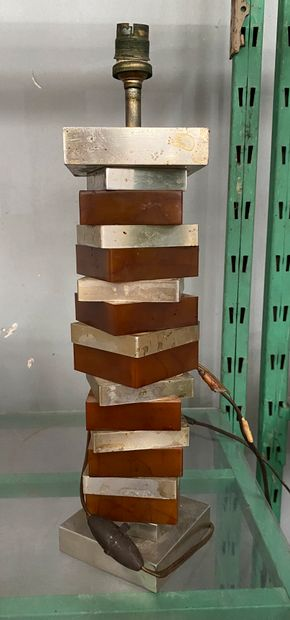 Pied de lampe en métal et résine à section...