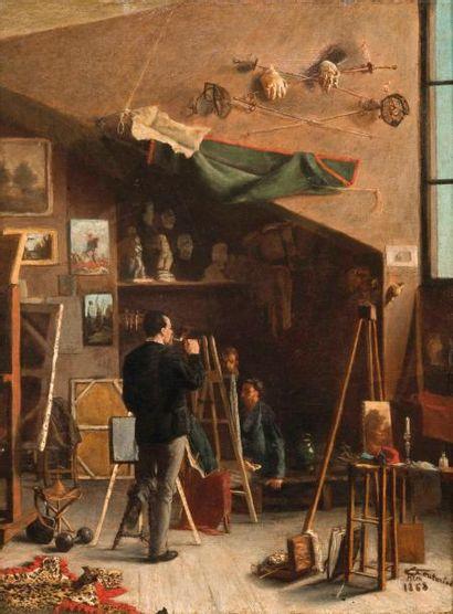 Léon-Antoine Lucien COUTURIER (1842-1935) UN COIN DE MON ATELIER, Huile sur toile,...