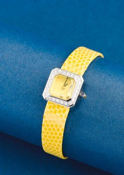 CORUM (Sugar Cube jaune - Lunette diamant),...