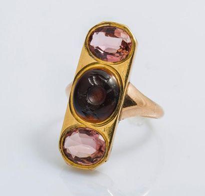 Bague en or rose 9 carats (375 millièmes),...