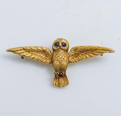 Broche chouette en or jaune 14 carats (585...