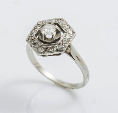 Bague en or gris 18 carats (750 millièmes)...