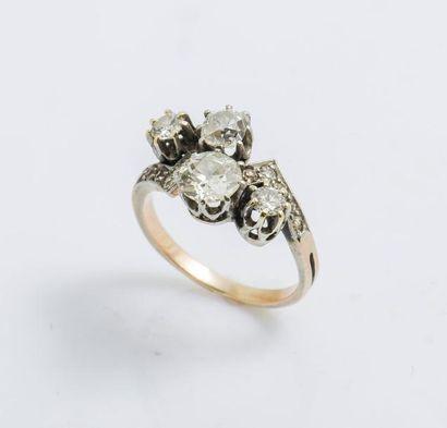 Bague en or rose 14 carats (585 millièmes)...