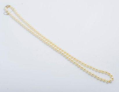 Collier de perles de culture blanches choker,...