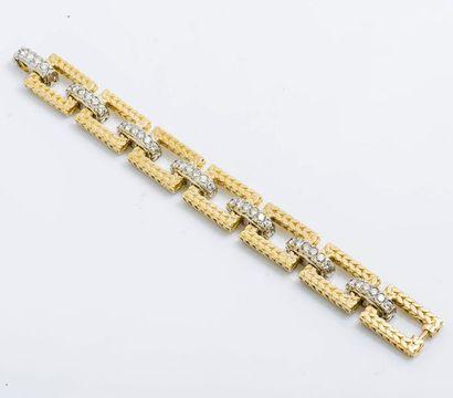 Bracelet gourmette articulé en or jaune 18...