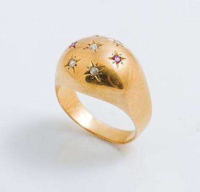 Bague boule en or jaune 18 carats (750 millièmes)...