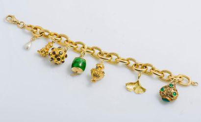 Bracelet charms en or jaune 18 carats (750...