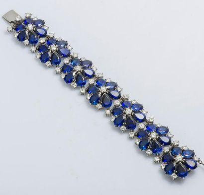 Bracelet articulé en or gris 18 carats (750...