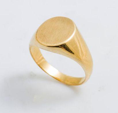 Bague chevalière en or jaune 18 carats (750...