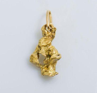 Pendentif pépite d'or, en or jaune 18 carats...