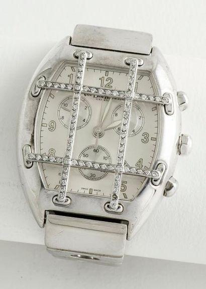 VAN DER BAUWEDE  Chronographe «Magnum» en acier, le boîtier de forme tonneau à fond...