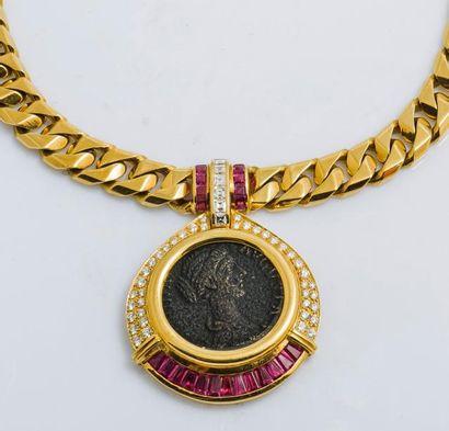 Collier en or jaune 18 carats (750 millièmes)...