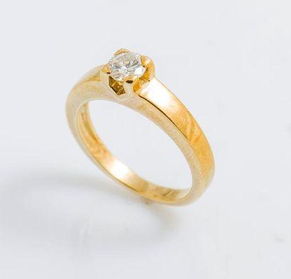 Bague solitaire en or jaune 18 carats (750...