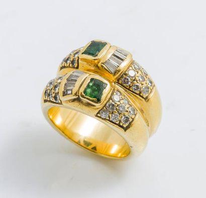 Bague double jonc en or jaune 18 carats (750...