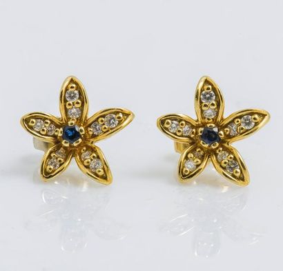 Paire de boutons d'oreilles fleurs en or...