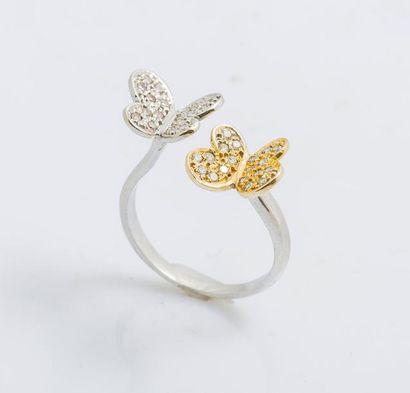 Bague en or gris et or jaune 14 carats (585...