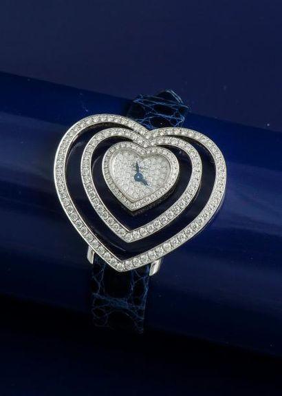 CHOPARD  Montre de dame en or gris 18 carats (750 millièmes), le boîtier en forme...
