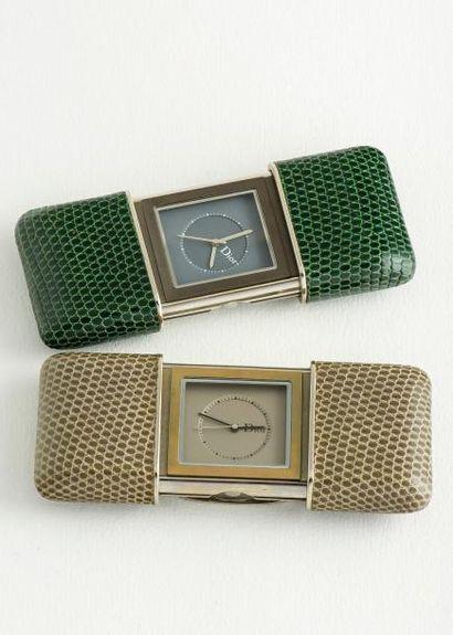 DIOR  Deux montres de sac ou de table en acier. Dans le goût de l'Hermeto créée par...
