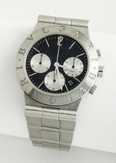 BULGARI  Chronographe «Diagono» en acier, boîtier rond à fond vissé (signé et numéroté)....