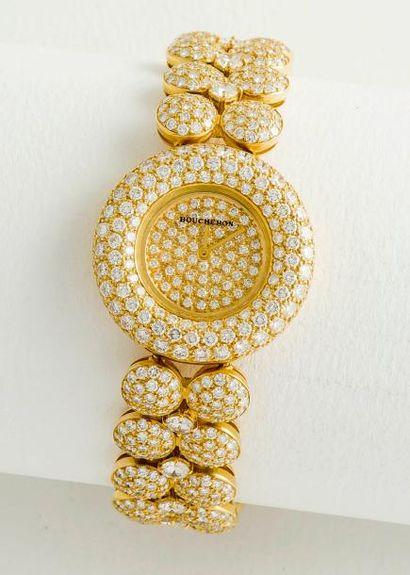 BOUCHERON  Montre bracelet de dame en or jaune 18 carats (750 millièmes), le boîtier...