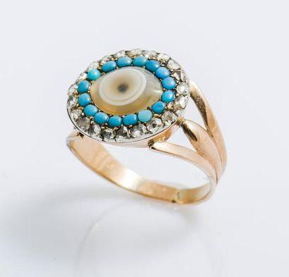 Bague œil en or rose 9 carats (375 millièmes)...
