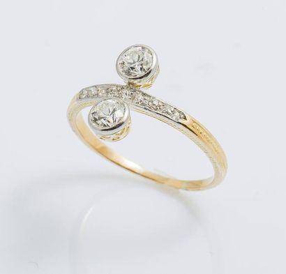 Bague toi et moi en or jaune 18 carats (750...