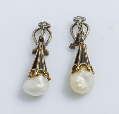 Paire de pendants d'oreilles en argent (925...