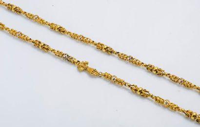 Important sautoir en or jaune 14 carats (585...