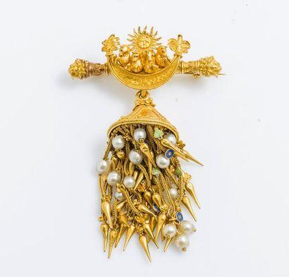 Broche en or jaune 18 carats (570 millièmes)...